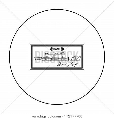 Cheque icon in outline style isolated on white background. Money and finance symbol vector illustration.
