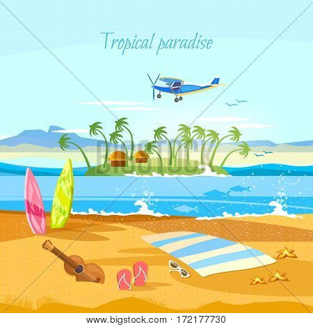 Tropical island paradise rest. Travel to Hawaii Tahitii. Beautiful nature landscape of tropical island. Travel in summer