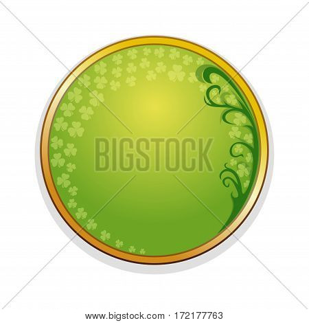 Medallion, frame with leaves of clover and design elements for St. Patrick's Day. St. Patrick's Day frame. Beautiful trendy round frame with place for text. Vector illustration