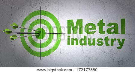 Success Manufacuring concept: arrows hitting the center of target, Green Metal Industry on wall background, 3D rendering
