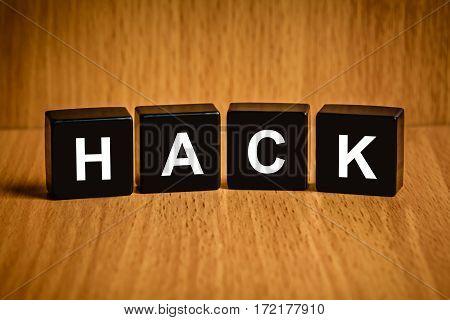 hack  cyber criminal text on black block