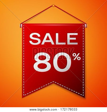 Red pennant with inscription sale eighty percent Discounts over a orange background. Sale concept for shops store market, web and other commerce. Vector illustration.