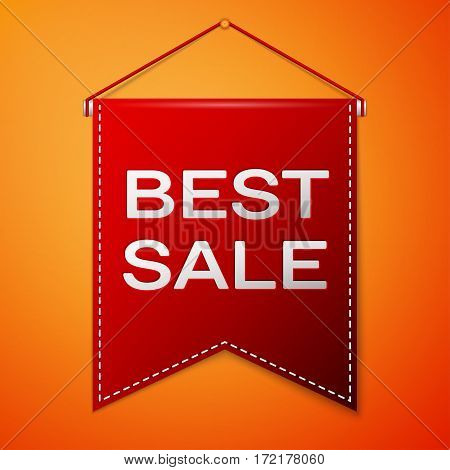 Red pennant with inscription BEST SALE over a orange background. Sale concept for shops store market, web and other commerce. Vector illustration.