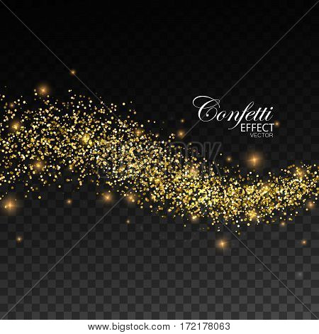 Glittering golden stream of paillettes, sparks and glitters. Abstract vector illustration of golden glitter stream. Holiday confetti particles. Light glowing burst effect. Glamour fashion illustration
