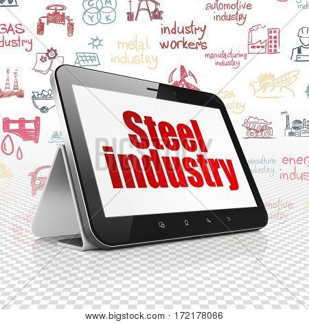 Industry concept: Tablet Computer with  red text Steel Industry on display,  Hand Drawn Industry Icons background, 3D rendering