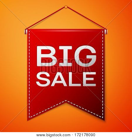 Red pennant with inscription BIG SALE over a orange background. Sale concept for shops store market, web and other commerce. Vector illustration.
