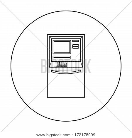ATM icon in outline style isolated on white background. Money and finance symbol vector illustration.