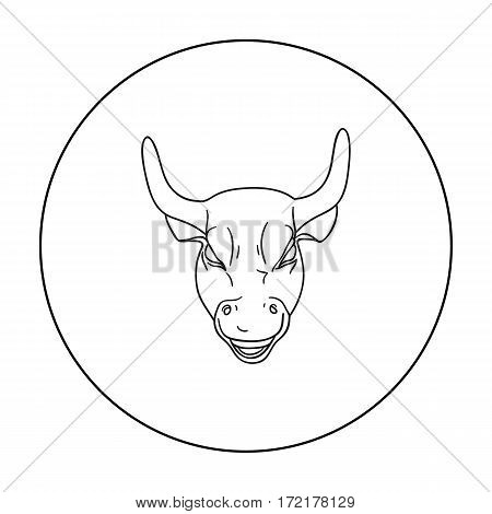 Golden Charging Bull icon in outline style isolated on white background. Money and finance symbol vector illustration.