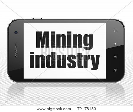 Industry concept: Smartphone with black text Mining Industry on display, 3D rendering