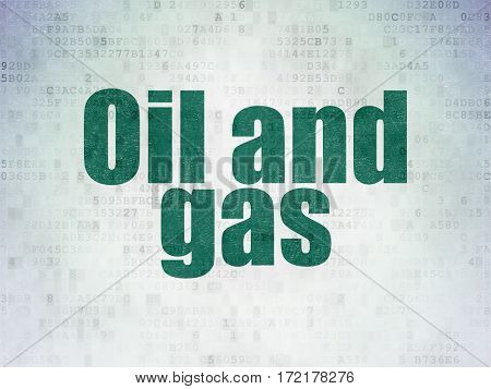 Industry concept: Painted green word Oil and Gas on Digital Data Paper background