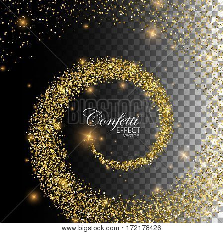 Glowing trail of golden confetti particles and stars. Magic swirl trail isolated on transparent checkered background. Spiral stream of glitters. Decoration confetti element for fashion glamour design.