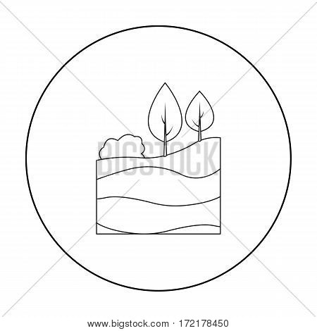 Layers of the earth icon in outline style isolated on white background. Mine symbol vector illustration.