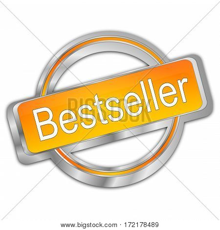silver orange Bestseller button - 3D illustration