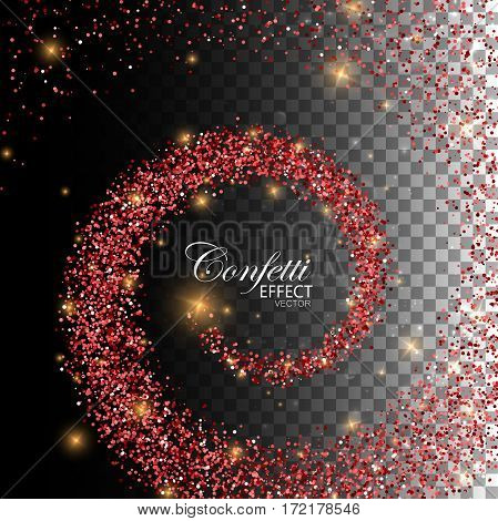 Glowing trail of red confetti particles and stars. Magic swirl trail isolated on transparent checkered background. Spiral stream of glitters. Decoration confetti element for Valentines Day design.