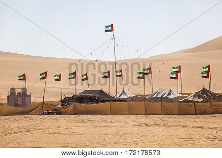 Desert camp at the Moreeb Dune in Liwa Oasis area. Emirate of Abu Dhabi United Arab Emirates Middle East