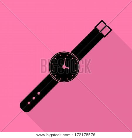 Watch sign illustration. Black icon with flat style shadow path on pink background.