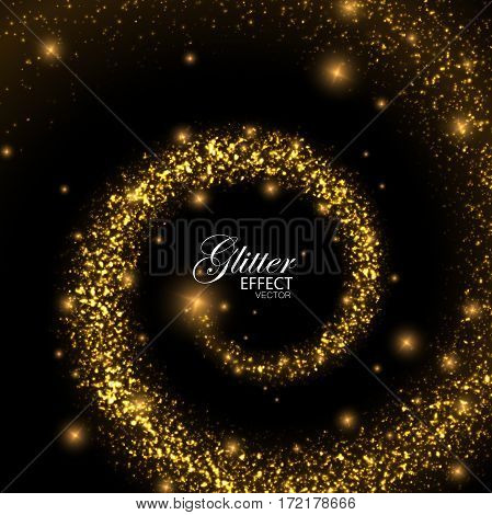 Glowing trail of golden confetti particles and stars. Magic swirl trail. Spiral stream of glitters. Decoration confetti element for fashion glamour or holiday design.