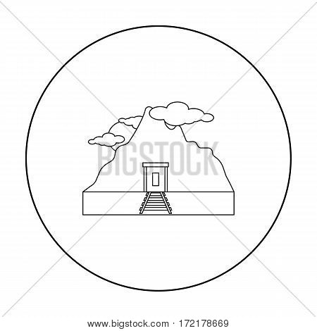 Mine icon in outline style isolated on white background. Mine symbol vector illustration.