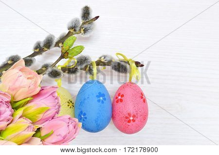 Happy Easter. Pussy-willow and colorful eggs on white background.
