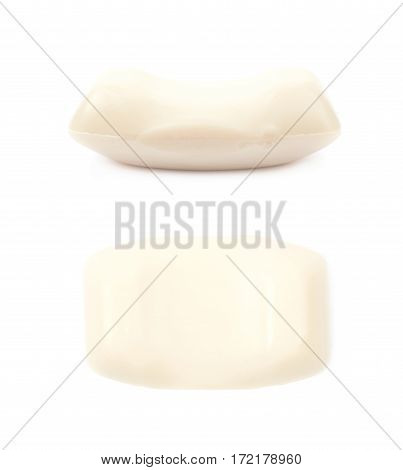 Single piece of soap isolated over the white background, set of two different foreshortenings