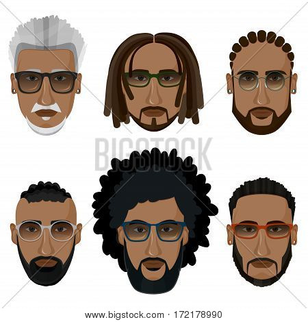 Hipsters bearded african men with different hairstyles mustaches beards isolated on white background.