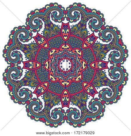 Vector mandala pattern of henna floral elements based on traditional Asian ornaments. Paisley Mehndi Tattoo Doodle illustration