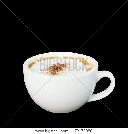 Cappuccino coffee isolated on black background. A cup of coffee on white background.