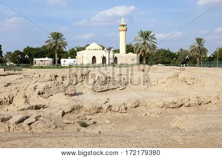 Settlement ruins and remains at the Hili archaeological park in Al Ain. Emirate of Abu Dhabi United Arab Emirates poster