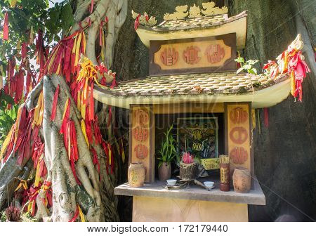 Prayer Structure. A Small Temple. A Wish Tree. Asia. The Worship Of The Spirits.