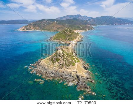 Aerial view of Sanguinaires bloodthirsty Islands in Corsica France poster
