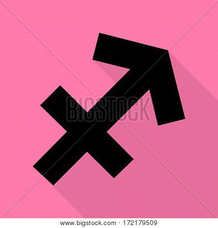Sagittarius sign illustration. Black icon with flat style shadow path on pink background.