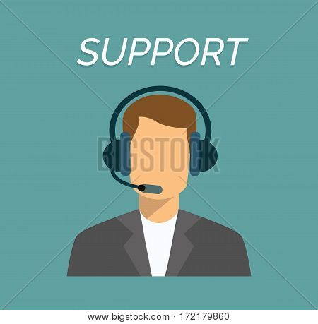 Call center male operator with headset web icon in flat style. Man working in support, vector
