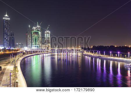 Dubai Water Canal illuminated at night. United Arab Emirates Middle East