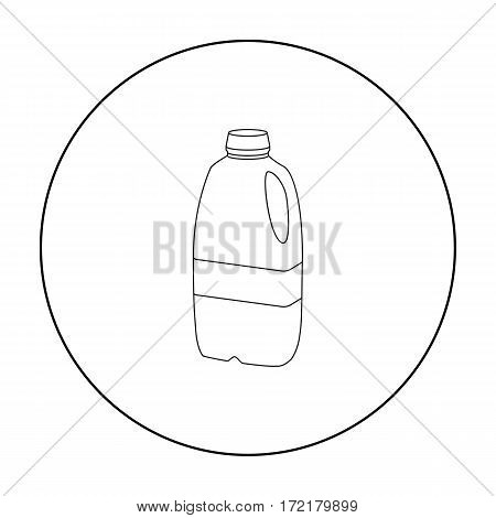 Gallon plastic milk bottle icon in outline style isolated on white background. Milk product and sweet symbol vector illustration.
