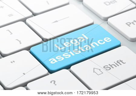 Law concept: computer keyboard with word Legal Assistance, selected focus on enter button background, 3D rendering