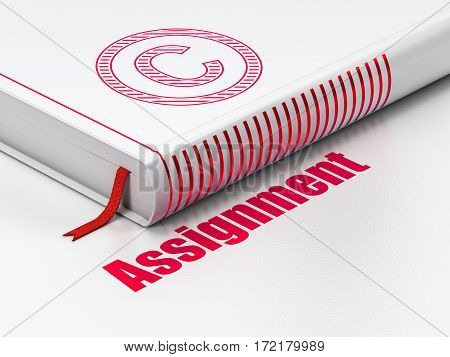 Law concept: closed book with Red Copyright icon and text Assignment on floor, white background, 3D rendering