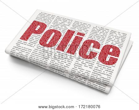 Law concept: Pixelated red text Police on Newspaper background, 3D rendering