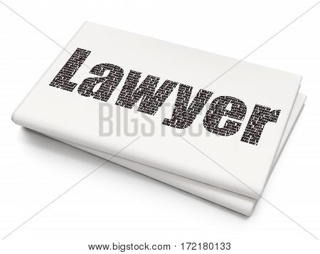 Law concept: Pixelated black text Lawyer on Blank Newspaper background, 3D rendering
