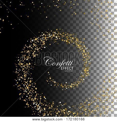 Glowing trail of golden confetti star particles. Glittering swirl trail isolated on transparent checkered background. Spiral stream of star particles. Decoration confetti element for design.