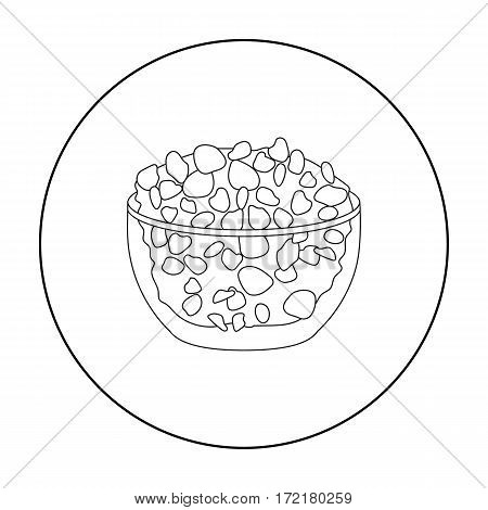 Cottage cheese in the bowl icon in outline style isolated on white background. Milk product and sweet symbol vector illustration.