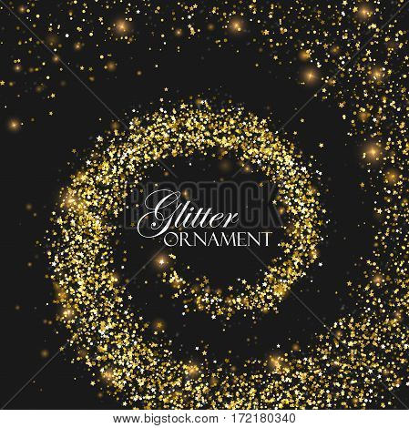 Glowing trail of golden confetti particles, stars and glitters. Glittering vortex. Spiral stream of star particles. Decoration confetti element for design. Holiday ornament concept