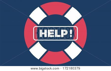 Vector flat deep blue ocean design background with Help text button. Cute template with lifebuoy.