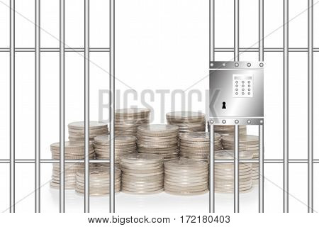 Financial security concept pile of money in prison with security equipment
