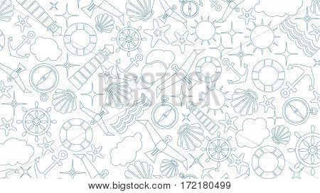 Vector flat sea design outline background. Cute template with seashell seagull bird lighthouse lifebuoy starfish anchor and ocean waves.