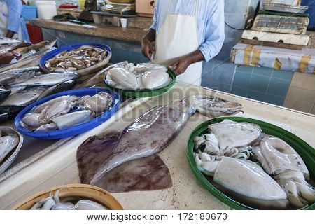 Fish market in the city of Fujairah. United Arab Emirates Middle East