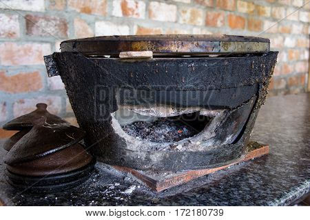 Clay Pot With Charcoal For Cooking. Traditional Vietnam. Kitchen. House.
