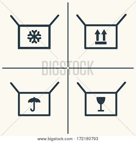 Boxes line icon set . Shopping box icons with symbols. Vector illustration