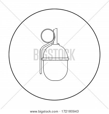 Military grenade icon in outline style isolated on white background. Military and army symbol vector illustration