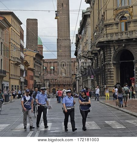 Bologna, Italy - June, 18, 2016: people in a center of Bologna, Italy