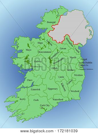 Republic of Ireland. Map of Ireland with the division into counties. Thirty-one local authorities - 26 county councils, two city and county councils and three city councils. Vector map of Ireland